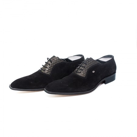 Shoes black leather chamois